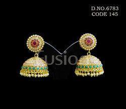 Ruby Emerald Polki Jhumka Earrings