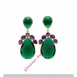 Emerald Hydro & Amethyst Hydro Gemstone Gold Plated Earring