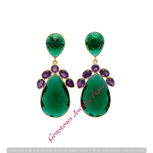 f0b9d6fa3 Pear Earrings Emerald Hydro & Amethyst Hydro Gemstone Gold Plated Earring