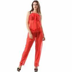 1628e385c5 3-Piece Elegant Blood Red See Through Pajama Set