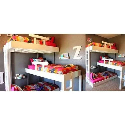 Wise Infratech Modern Kids Designer Triple Wooden Bunk Bed Rs 1800 Square Feet Id 22438781491