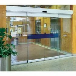 Sliding Plain Automatic Glass Door, Thickness: 5-10 Mm