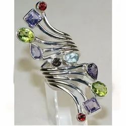Multi Color Mix 925 Sterling Silver Fashion Rings