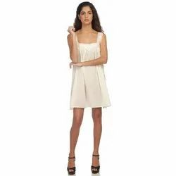 Ladies Plain White Casual One Piece Dress