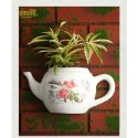 White Kettle Wall Mounted Flower Pot