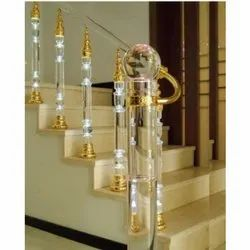 Stairs Bar Glass Brass Railing, For Home, Hotel