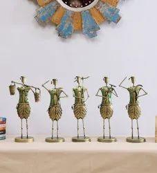 Iron Farmer Musician Human Figurine Set of 5 Showpiece, For Table Decoration