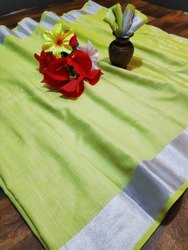 Formal Wear Linen Georgette Saree, 6.3 M (with Blouse Piece)