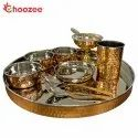 Choozee - Copper Thali Set (10 Pcs) of Thali, Bowl, Spoon, Glass and Ice-Cream Cup