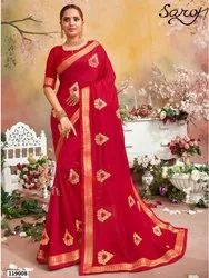Fancy festive wear silk border saree