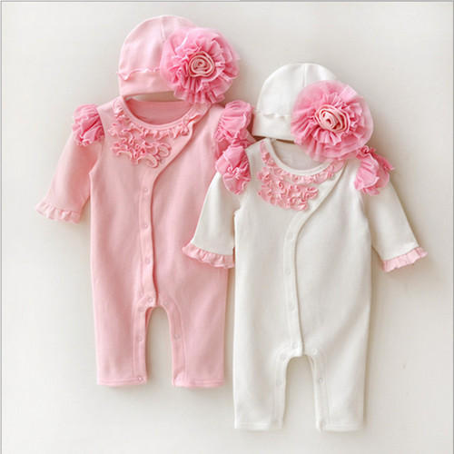 3fee34d569a3 Pink   White Cotton Newborn Baby Romper Winter Jumpsuit