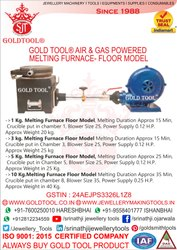 Gold Tool Air & Gas Powered Melting Furnace Floor Model For Gold & Silver
