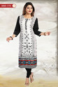 Beautiful Pristine White Rayon Long Tunic For Everyday Wear