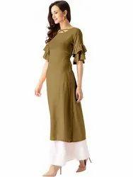 Casual Wear Straight Bell Sleeves Rayon Kurti, Machine Wash