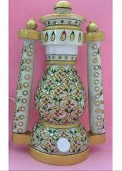 Saarthi Rajasthani Marble Lantern/lamp-hand Painted With Ethnic Meenakari Work Jewellery Motif Lante
