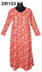 Cotton Hand Block Printed Long Women Kurti Dress DR153