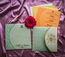 Paper Pull-Out Insert Shaadi Invitation Card For Marriage With Custom Laser Cut Initials, Size: 19cm X 18.9cm