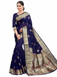 Glossy Art Silk Saree With Blouse Piece By Parvati Fabric