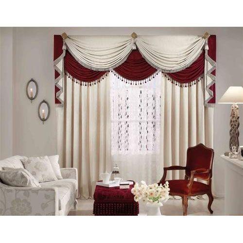 cream and maroon plain decorative window curtain rs 3100 unit id rh indiamart com