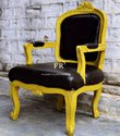 Vintage Victorian Leather Upholstered Black Wing Chair for Hotels
