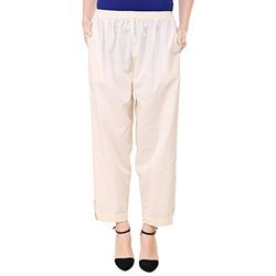 Vastraa Fusion Ladies Khadi Flex Cotton Button Pant - Off White Colour