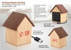 A121 Hut Shape Wooden LED Clock With Temperature And Sound Sensor Dual Power Battery USB