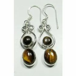 Tiger Eye with 925 Sterling Silver Well Finished Earrings
