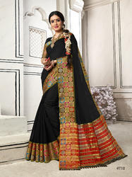 Preferable Black Colored Party Wear Chanderi Cotton Saree with Blouse Piece