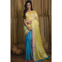 Half Linen And Half Muslin Sequin Work Saree In Lemon Yellow And Blue