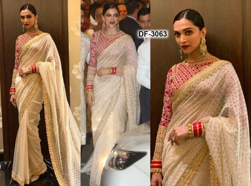 a501a1095a Bollywood Replica Designer Wedding Wear Saree, Length: 5.2 m Separate  Blouse Piece