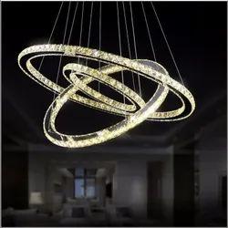 LED Iron Crystal Circle Chandelier