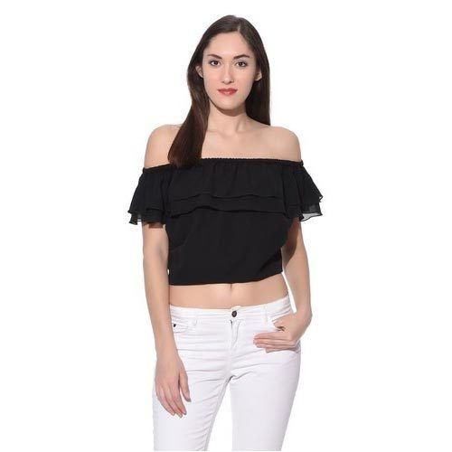 b37817da4e95cf Black Bardot Crop Top