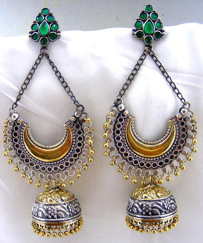 6befb8791 Kumar Jewels Party German Silver Plated Emerald Stone Golden Balls Long  Earring