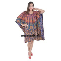 Indian Green Data Badmedi Kaftan Mandala Women Dress Caftan