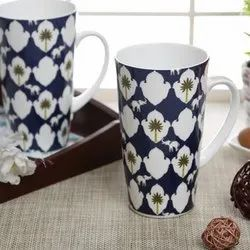 Blue Clay Craft Bone China Printed Tall Milk Mug for Home