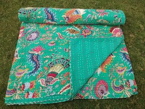 Indian Vintage Fruit Print Kantha Quilts Bedding Twin Comfortor For Christmas