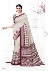 casual wear Printed Latest Uniform Silk Saree, 6.3 m (with blouse piece)