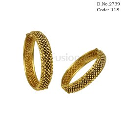 Fusion Antique Plain Gold Bangles