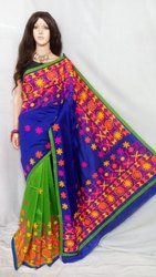 Cotton Silk Kanthiyawadi Wool Embroidery Work Saree