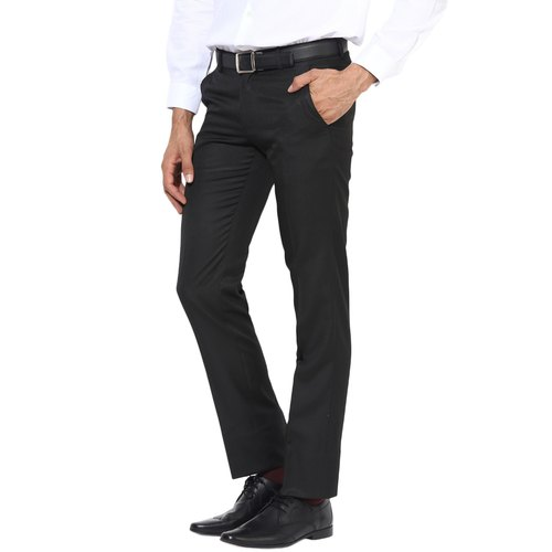 Flat Trousers Polycotton Mens Black Formal Trouser Packaging Type