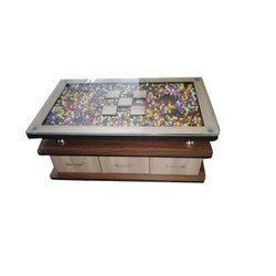 Brown Wooden Glass 3 drawer Center Table for Home, Size: 3x2 Feet