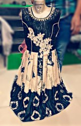 Party Wear Printed Digital Print Gown, Size: 22 To 32