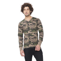 Walnut Clifton Mens Full Sleeve V-Neck Army T-Shirt
