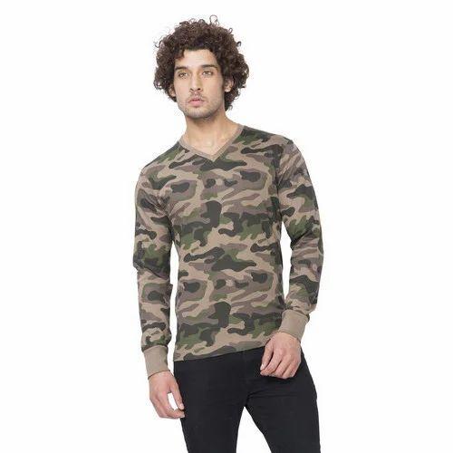 35492e45 Printed Walnut Clifton Mens Full Sleeve V-Neck Army T-Shirt, Rs 499 ...