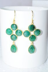Hot Style New Fashionable Green Onyx Valentine Jewelry Earring for Ladies