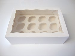 12 Mini Cupcake White Box With Window