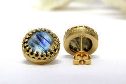 Handmade New Style Labradorite Beautiful Stud Made in 925 Sterling Silver Gold Plated