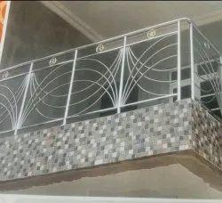 Panel Glass Iron Balcony Railing