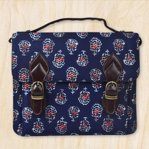 Blue Cotton Fabric   Leatherite Sling Bags For Women c16dcd17c164b
