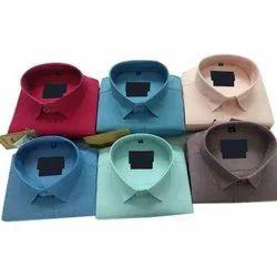 Collar Neck Plain Mens Formal Cotton Shirts, Size: M-XL